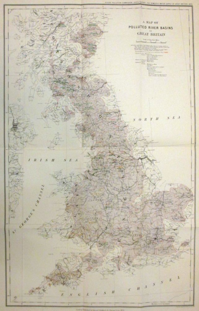 A Map of Polluted River Basins of Great Britain. Edward STANFORD.