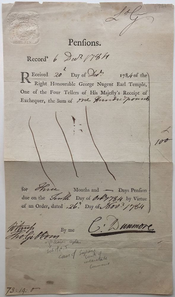 Partially Printed Document Signed. Thomas GIBBONS, 1757 - 1826.