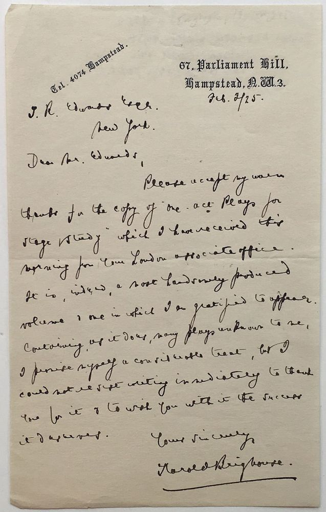 Autographed Letter Signed. Henry BRIGHOUSE, 1882 - 1958.