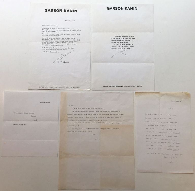 Grouping of four Typed Letters Signed and one Autograph Letter Signed. Garson KANIN, 1912 - 1999.