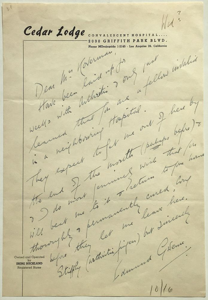 Autographed Letter Signed about his health. Edmund GWENN, 1875 - 1959.