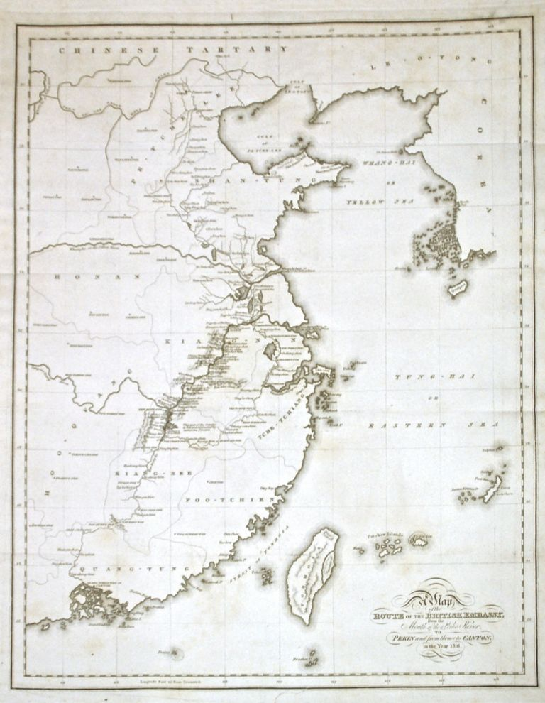 A Map of the Routes of the British Embassy, from the Mouth of the Peiho River to Pekin and from thence to Canton in the year 1816. Henry ELLIS.