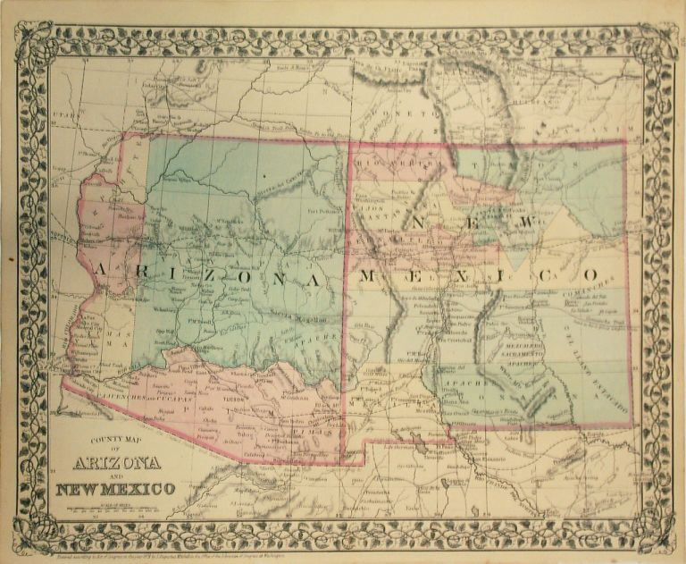 Map Of Arizona And New Mexico.County Map Of Arizona And New Mexico Samuel Augustus Jr Mitchell