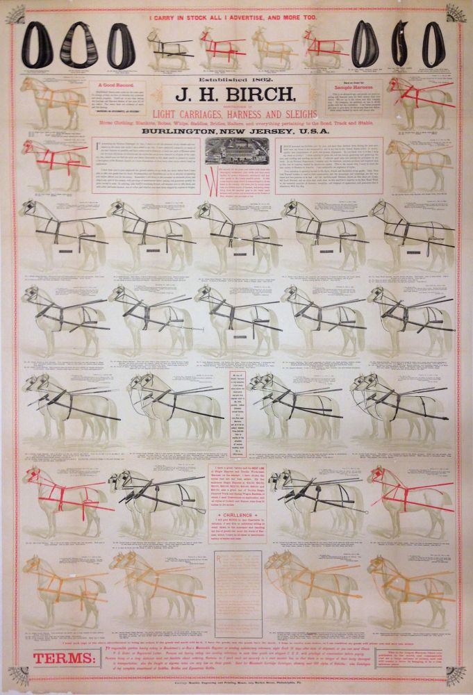 J. H. Birch. Light Carriages, Harness and Sleighs. CARRIAGE MONTHLY ENGRAVING, PRINTING HOUSE.