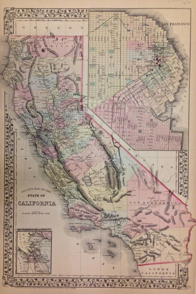 County Map of the State of California. Samuel Augustus Jr MITCHELL.