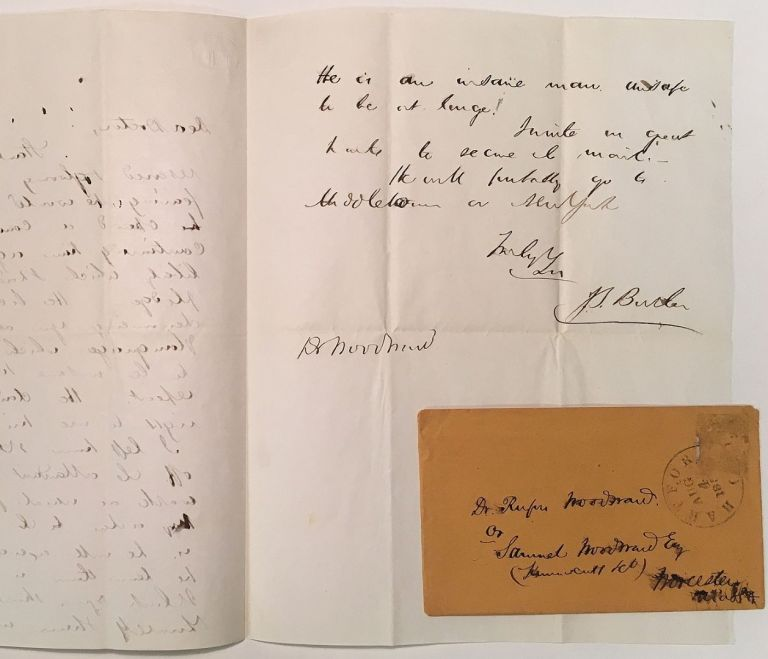 Autographed Letter Signed to a fellow doctor. J. S. BUTLER, 1823 - 1877.