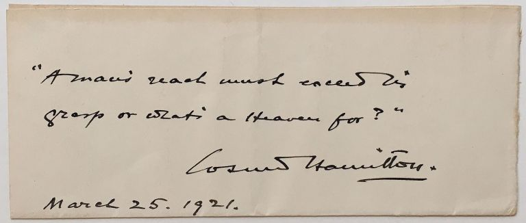Autographed Quotation Signed. Cosmo HAMILTON, 1870 - 1942.