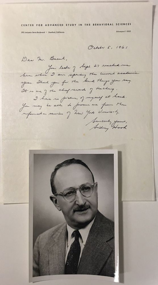 Autographed Letter Signed to a former student. Sidney HOOK, 1902 - 1989.