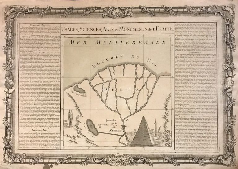 Usages, Sciences, Arts, et Monuments de l'Egypte; Unusual 1761 map of the Nile Delta with the mythical Labyrinth. Louis Charles DESNOS, Claude BUY DE MORNAS.