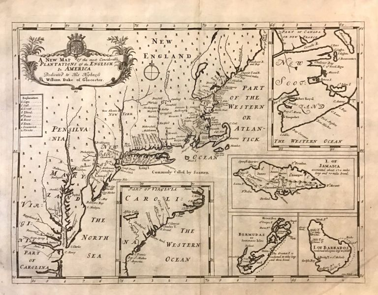 A New Map of the Most Considerable Plantations of the English in America. Edward WELLS.
