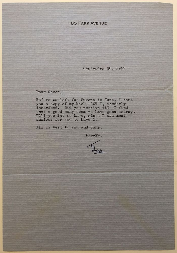 """Typed Letter Signed """"Moss"""" to Oscar Levant. Moss HART, 1904 - 1961."""