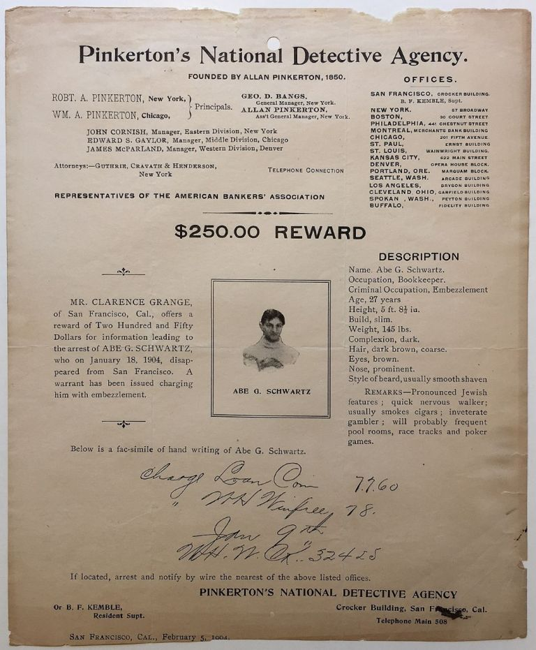 Original 1904 Wanted Poster with a photo and facsimile handwriting sample. Judaica.