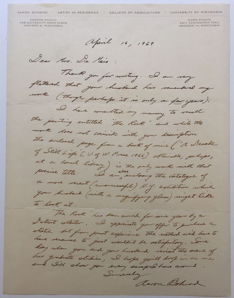 Fine content Autographed Letter Signed on personal letterhead. Aaron BOHROD, 1907 - 1992.
