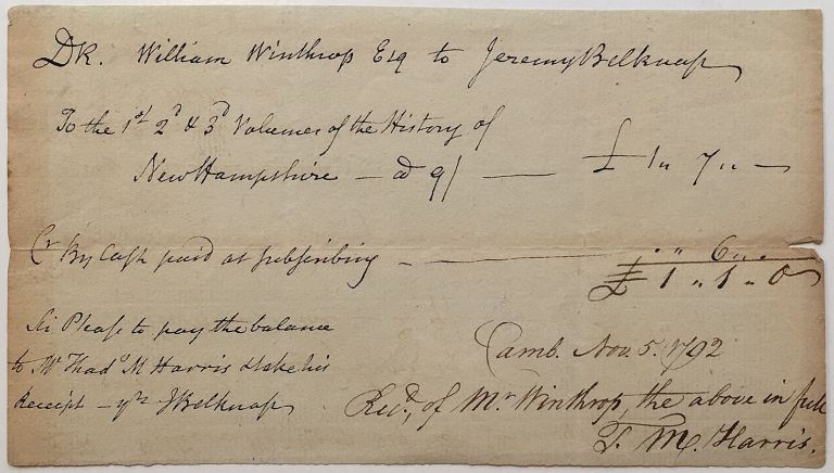 Historically important Autographed Document Signed twice. Jeremy BELKNAP, 1744 - 1798.