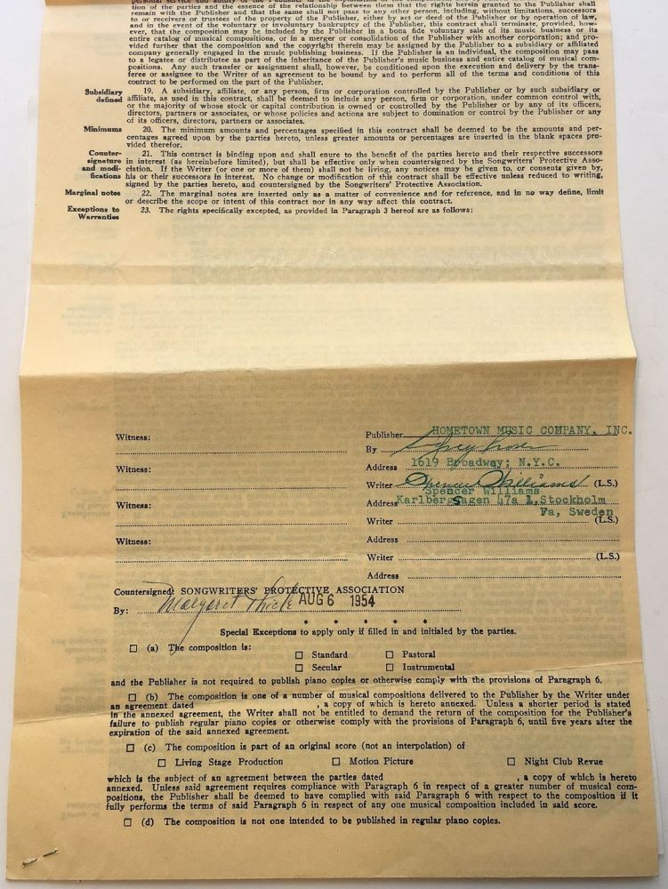 Signed music publishing contract. Spencer WILLIAMS, 1889 - 1965.