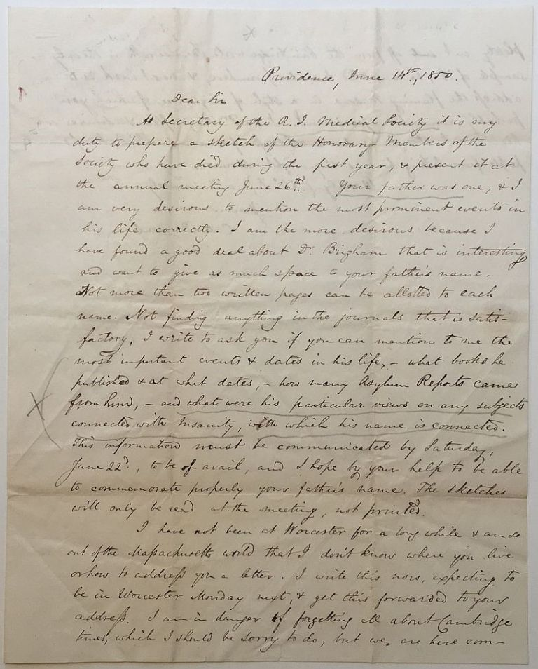 Autographed Letter Signed to a fellow doctor. A. C. PARSONS, 1823 - 1893.