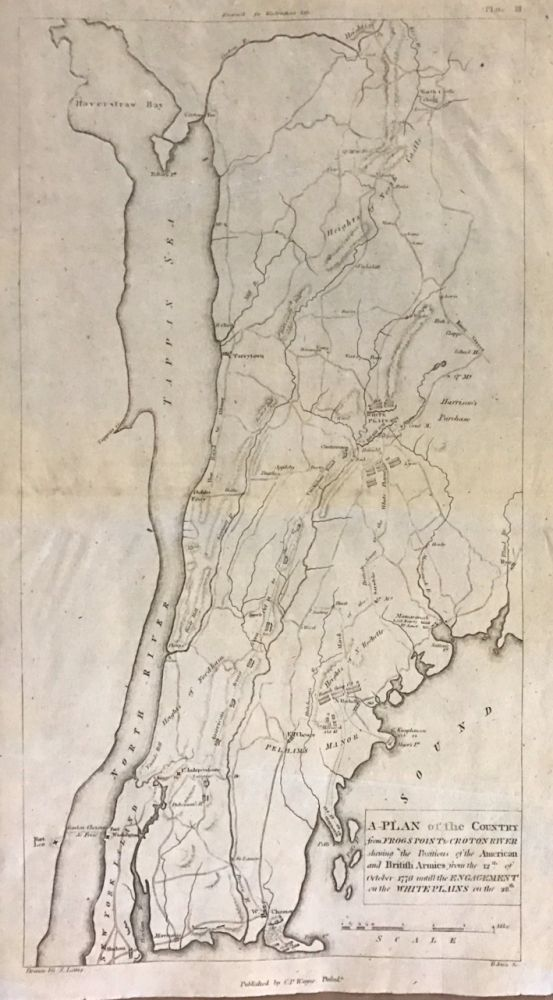A Plan of the Country from Frog's Point to Croton River shewing the Positions of the American and British Armies from the 12th of October 1776 until the Engagement on the White Plains on the 28th. John MARSHALL.