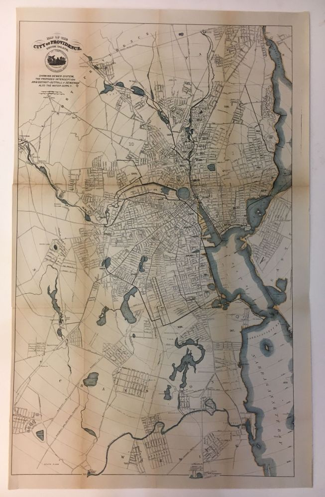Map of the City of Providence, Rhode Island, Showing Sewer System, the Proposed Interception and Distant-Outfall of Sewerage also the Water Supply. ANON.