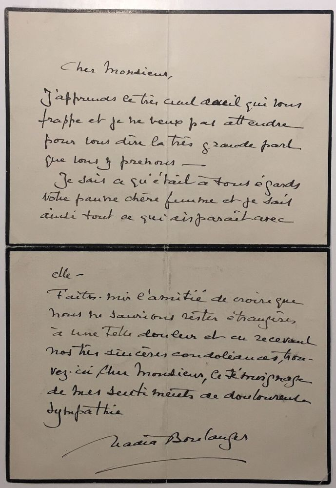 Eloquent Autographed Letter Signed in French. Nadia BOULANGER, 1887 - 1979.