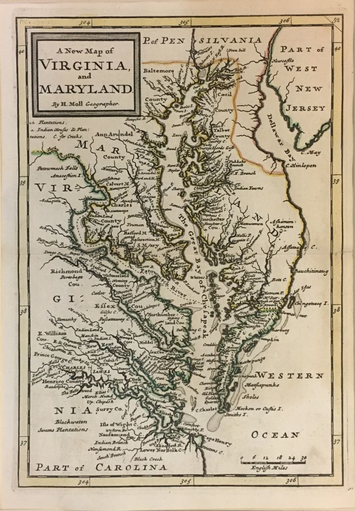 A New Map of Virginia and Maryland. Herman MOLL.