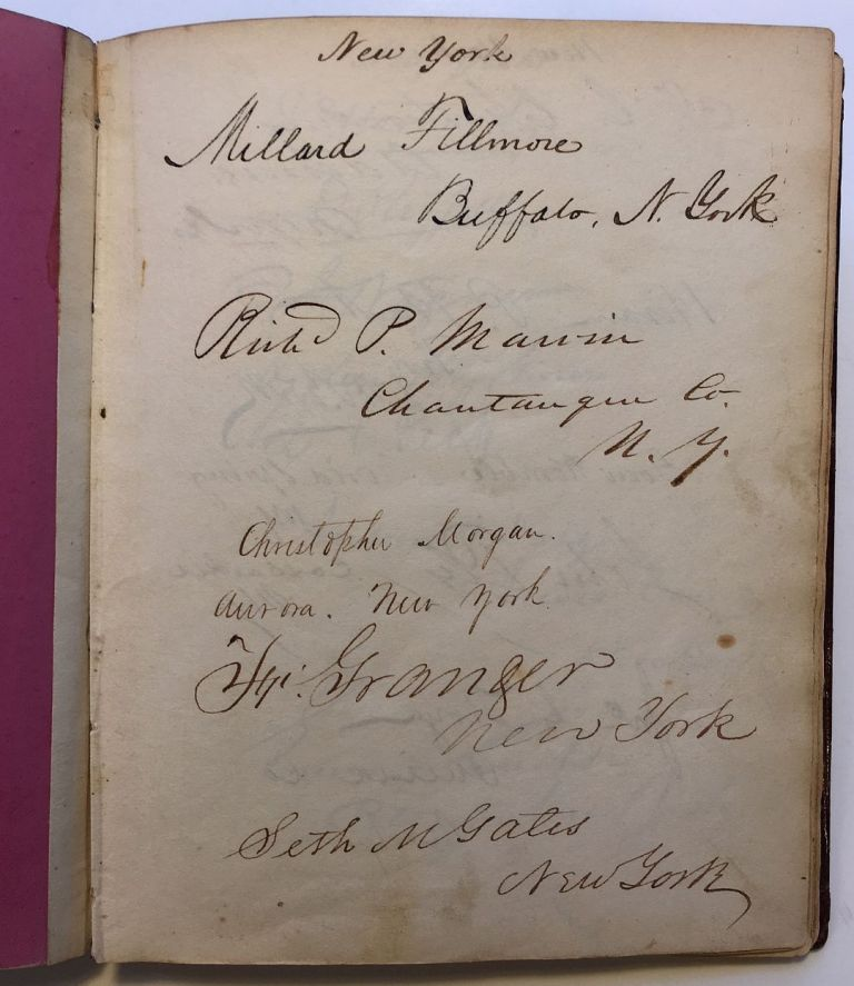 Vice President Richard M. Johnson's personal autograph ledger book with hundreds of signatures of Senators, Supreme Court Justices, Presidents, and more. Richard M. JOHNSON, 1780 - 1850.