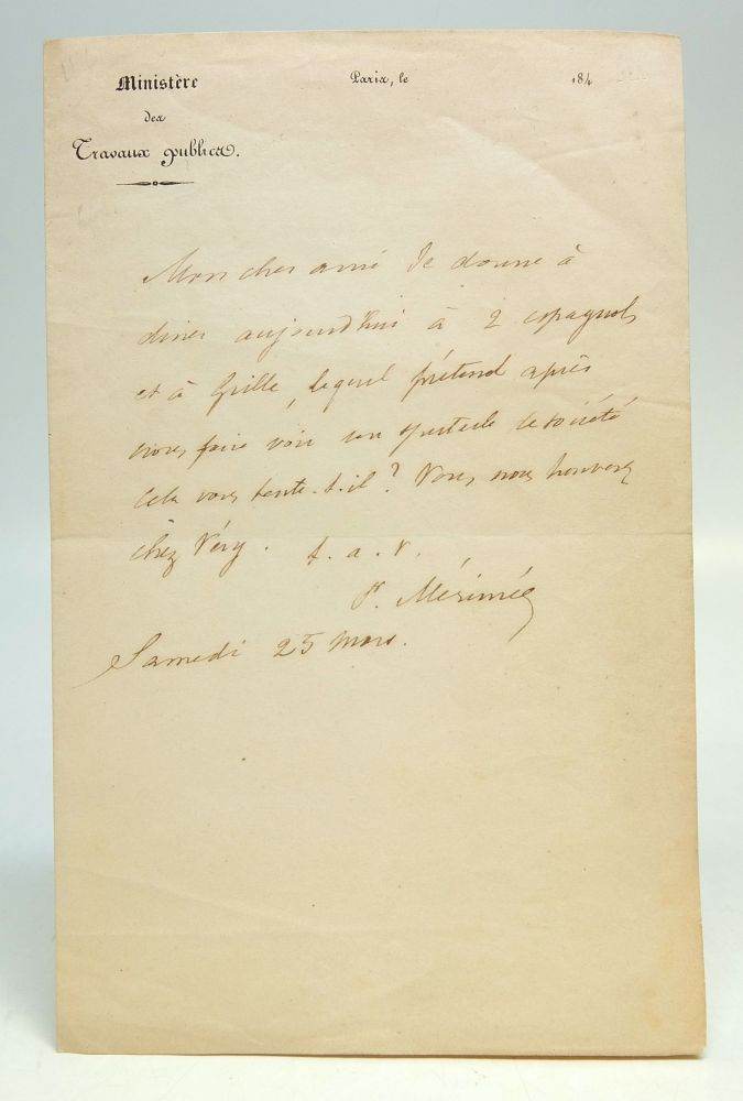 Autographed Letter Signed in French. Prosper MERIMEE, 1803 - 1870.