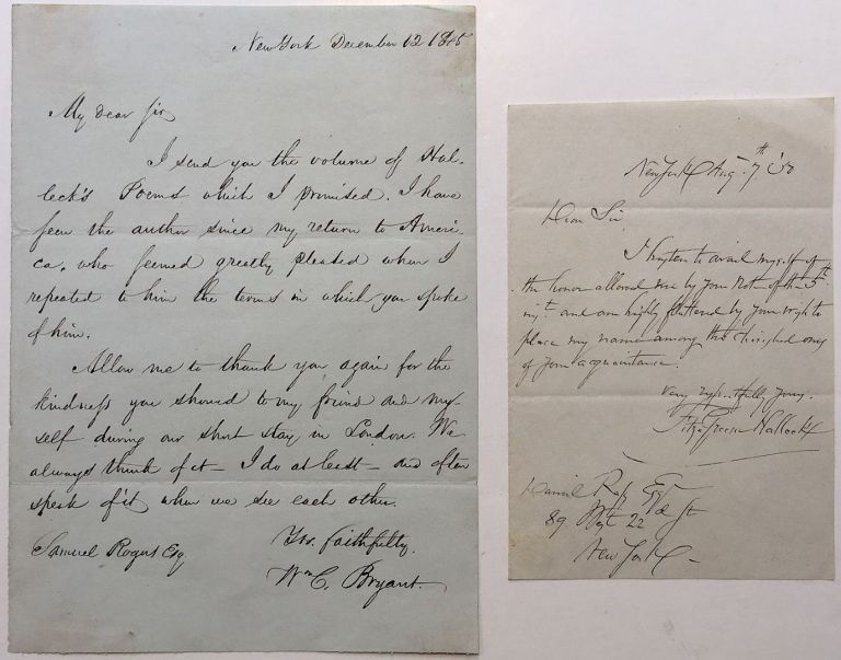 Autographed Letter Signed. William Cullen BRYANT, 1794 - 1878.