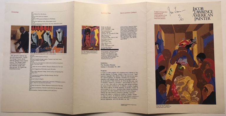 Signed catalog brochure from the Brooklyn Museum. Jacob LAWRENCE, 1917 - 2000.