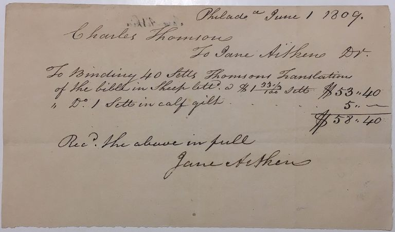 Autographed document signed about binding sets of a bible translation. Jane AITKEN, 1764 - 1832.