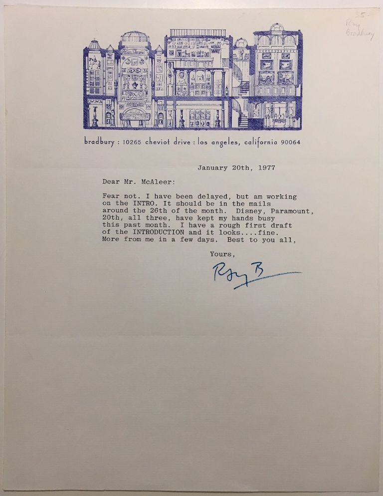 Typed letter signed on personal stationery. Ray BRADBURY, 1920 - 2012.
