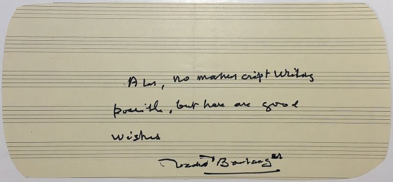 Autographed note signed on music paper. Nadia BOULANGER, 1887 - 1979.