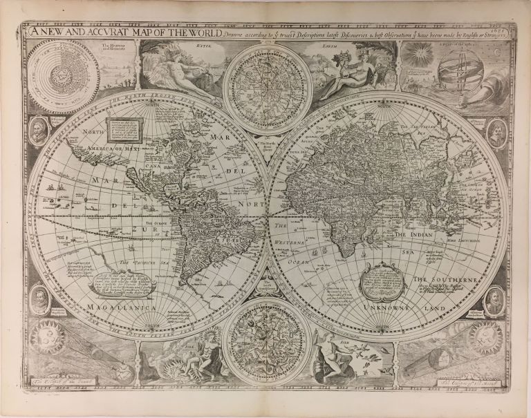 A New and Accurat Map of the World; Drawne according to ye truest Descriptions latest Discoveries & best Observations yet have been made by English or Strangers. John SPEED.