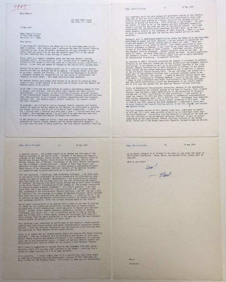 Important typed letter signed on personal letterhead. Paul MANN, 1913 - 1988.