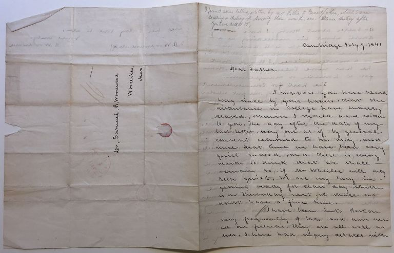 Autographed letter signed from The Harvard Rebellion of '41. Rufus WOODWARD, 1819 - 1885.
