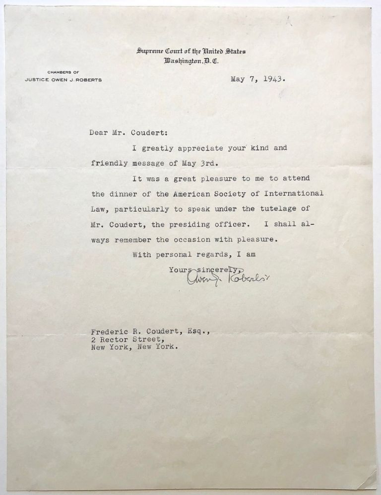 Typed Letter Signed on Supreme Court letterhead. Owen S. ROBERTS, 1875 - 1955.