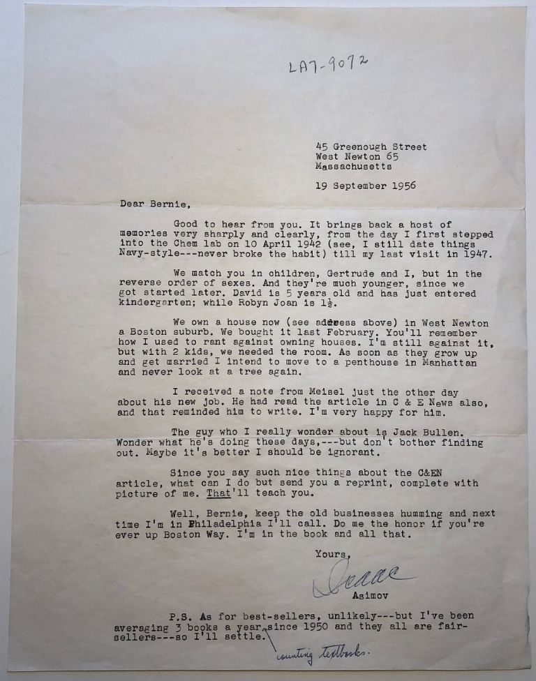Typed Letter Signed with a handwritten addition. Isaac ASIMOV, 1920 - 1992.