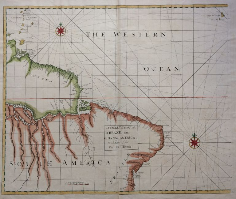 A Chart of the Coast of Brazil and Guiana in America: with Part of the Caribbe Islands. Nathaniel CUTLER, Sir Edmond HALLEY, John HARRIS, John SENEX, Daniel DEFOE.