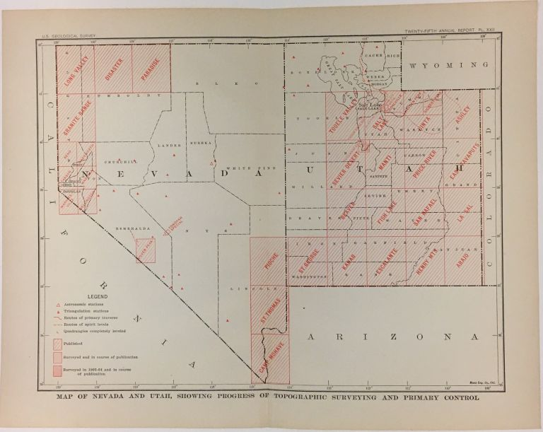 Map of Nevada and Utah, Showing Progress of Topographic Surveying and Primary Control. Charles Doolittle WALCOTT.