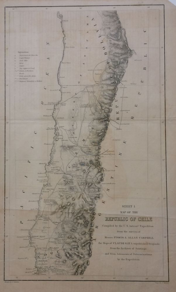 Map of the Republic of Chile - Sheets I, II, and III; Compiled by the U.S. Astronomical Expidition from the surveys of Pissis & Campbell. James Melville GILLISS.
