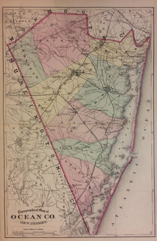 Topographical Map of Ocean Co. New Jersey. Frederick W. BEERS.