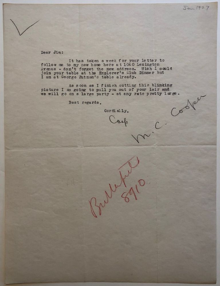 """Rare typed letter signed """"Coop"""" Merian Caldwell COOPER, 1893 - 1973."""