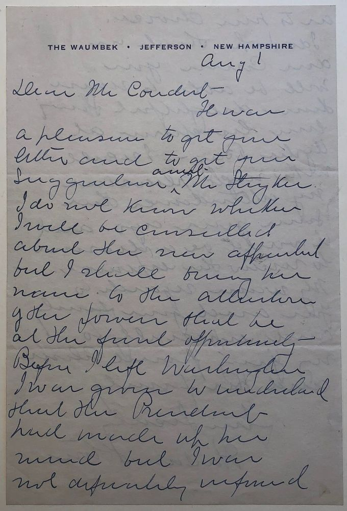 Autographed letter signed. Harlan F. STONE, 1872 - 1946.