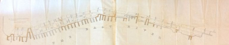 Piers and Parts of Piers marked C belong to the Corporation; Rare map of the Piers of the East River, Manhattan, New York City. MILLER, Co.