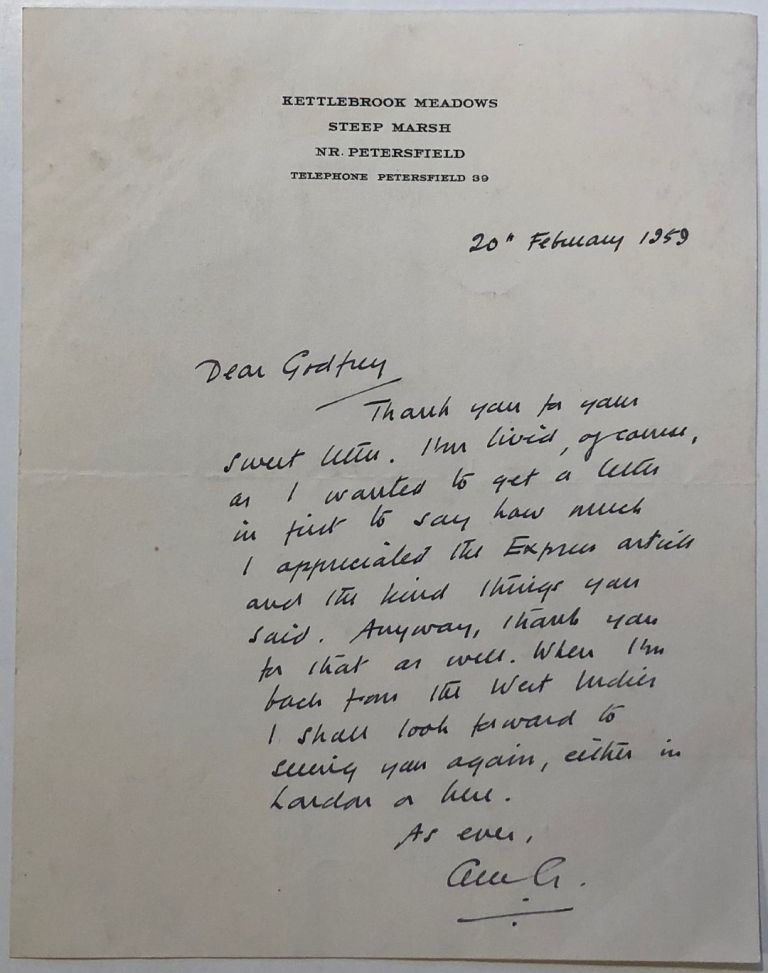 Humorous autographed letter signed to a journalist. Alec GUINNESS, 1914 - 2000.