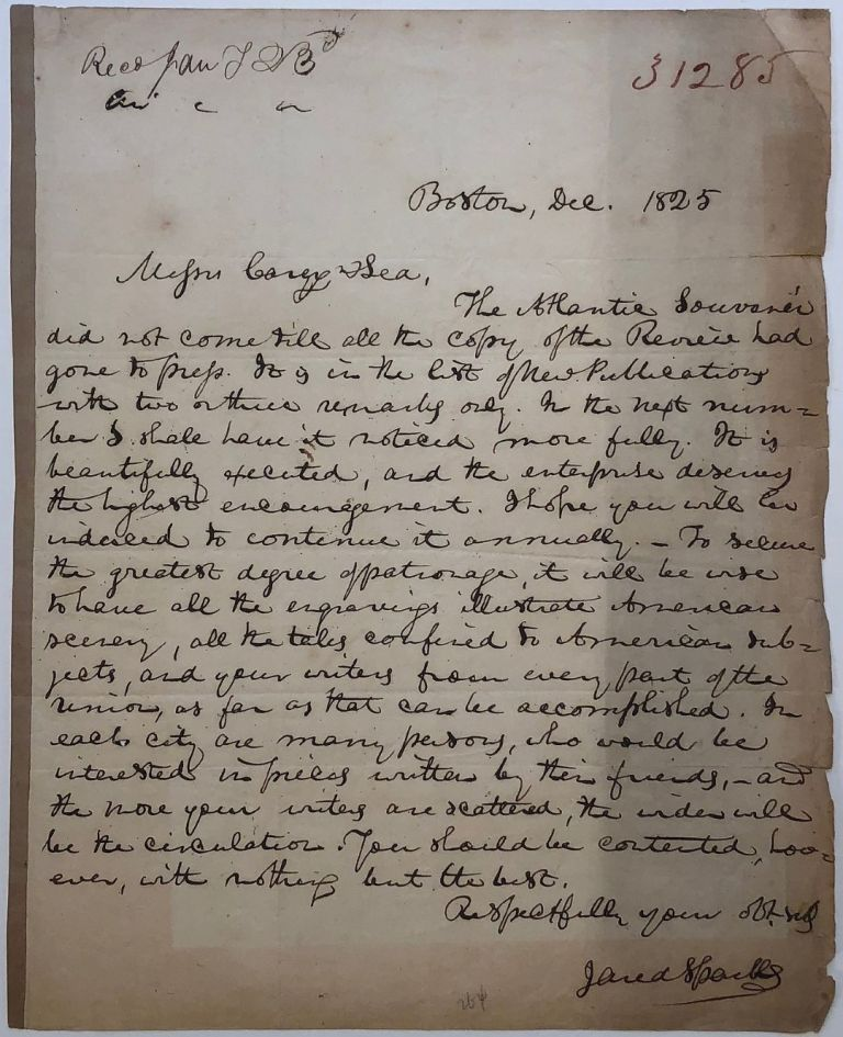 Autographed letter signed to a publisher. Jared SPARKS, 1789 - 1866.