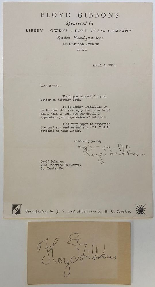Typed letter signed on personal letterhead. Floyd GIBBONS, 1889 - 1939.