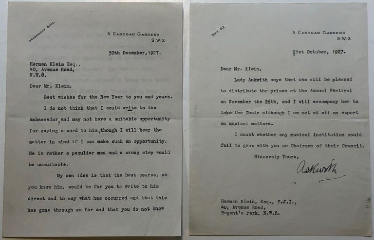 Two typed letters signed to a Royal family assistant. George Rankin ASKWITH, Sir, 1861 - 1942.