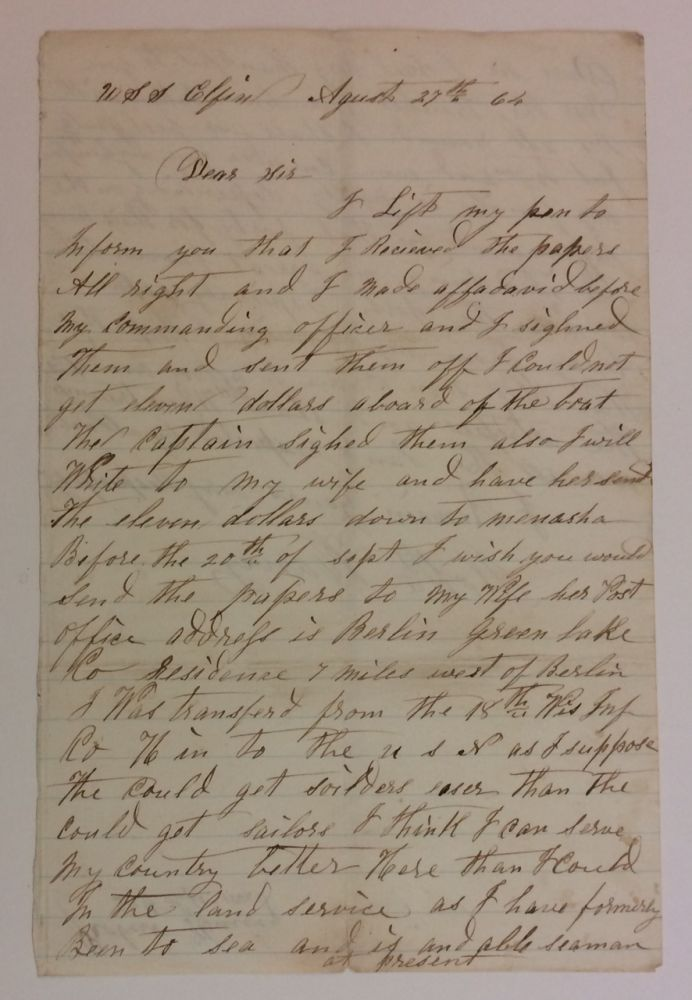 Union Navy Autographed Letter Signed. CIVIL WAR: A. WISCONSIN SAILOR ABOARD THE USS ELFIN.