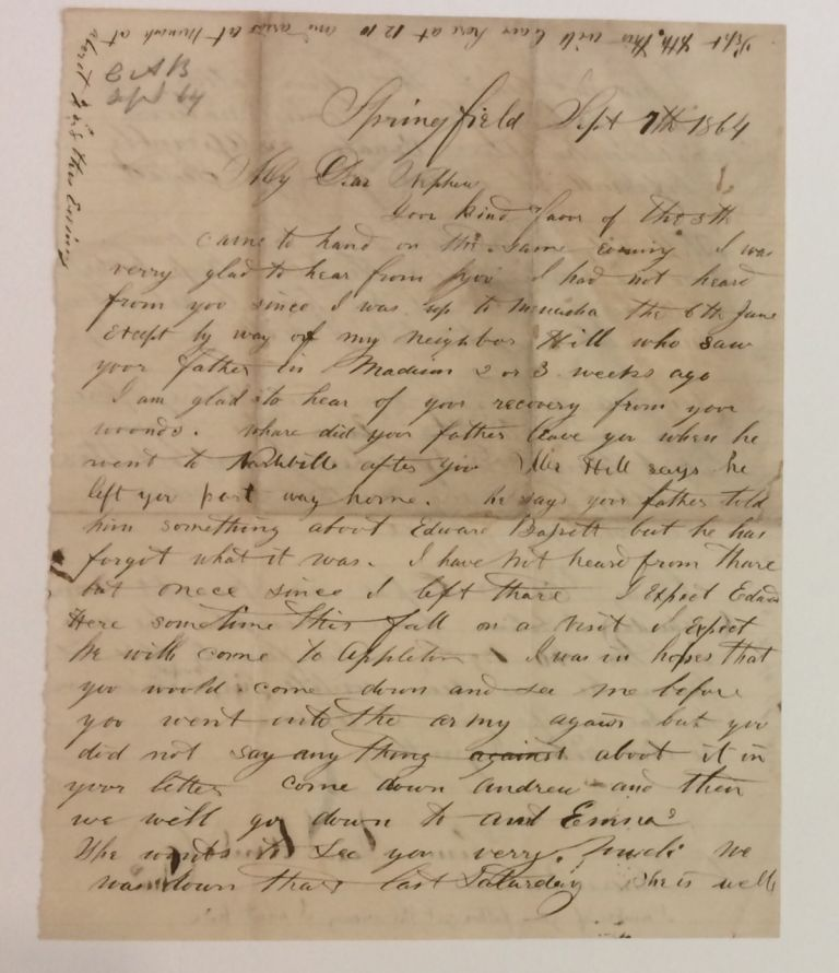 Autographed Letter Signed. CIVIL WAR: WISCONSIN.