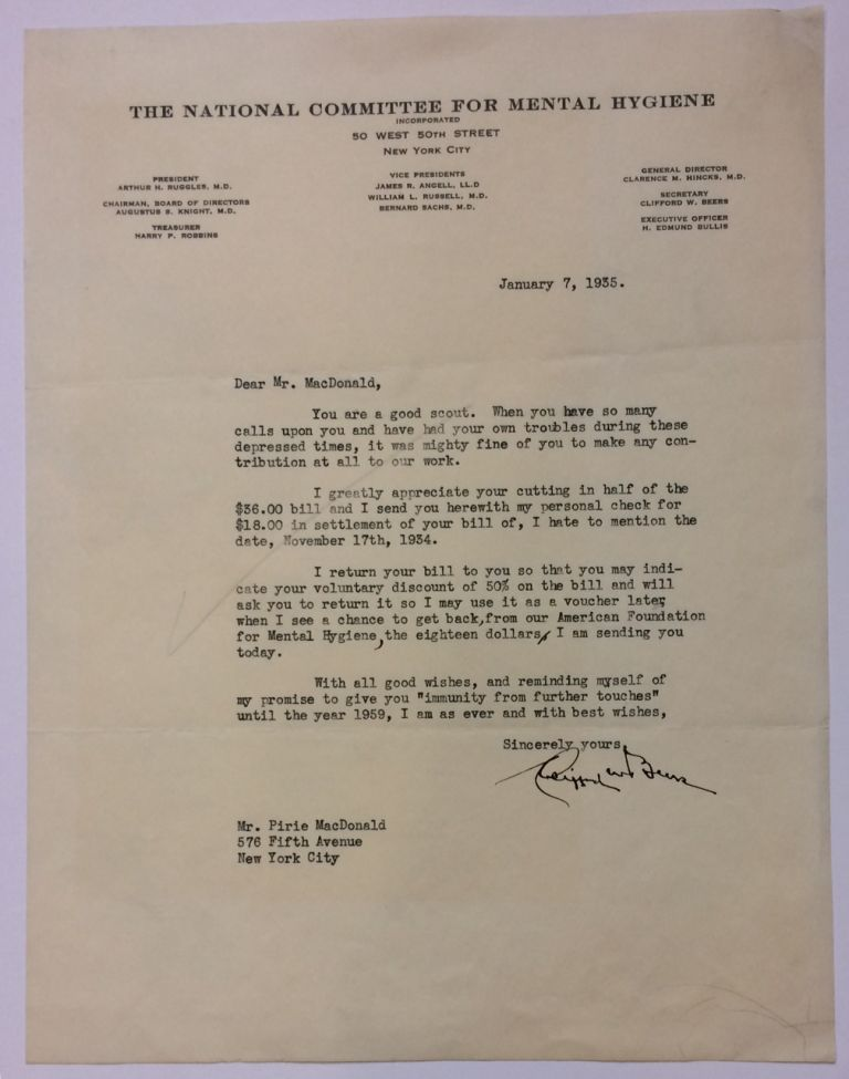 Typed Letter Signed. Clifford W. BEERS, 1876 - 1943.